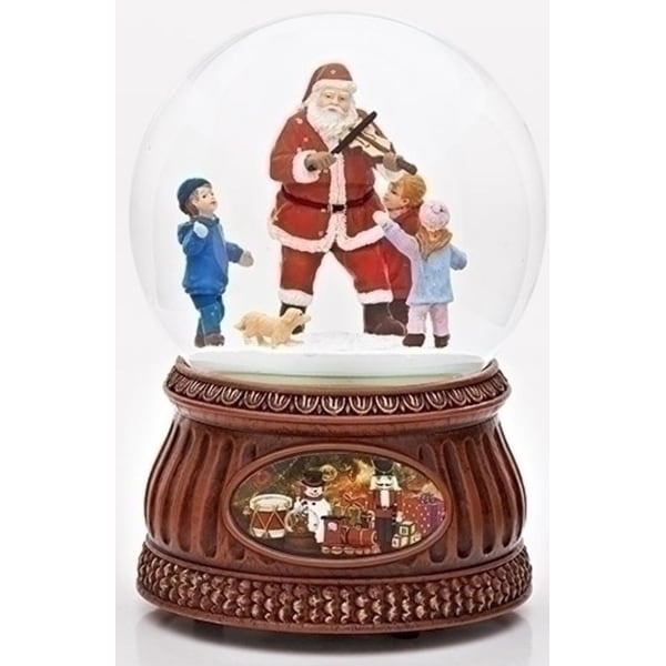 """Set of 2 Musical Santa Glitter Dome with Fiddle and Rotating Kids 7"""""""