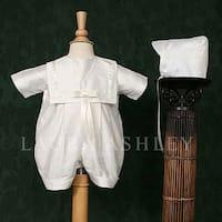 Baby Boys White Silk Baptism Christening Hat Romper Set Size 0-6M