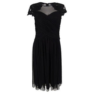 Link to Alex Evenings Women's Petite Embellished Illusion A-Line Dress - Black Similar Items in Petites