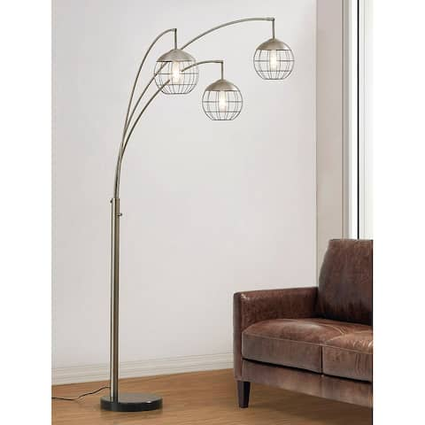 Metro 3-light Wire Shade LED Dimmable Arch Floor Lamp