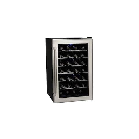 "Koldfront TWR282 18"" Wide 28 Bottle Wine Cooler with Thermoelectric Cooling - Silver on Black"