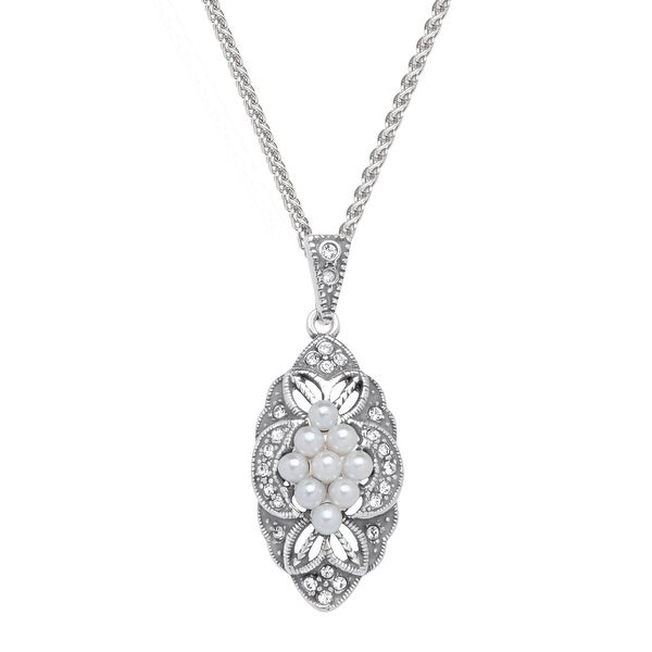 Van Kempen Victorian Simulated Pearl Pendant with Swarovski Elements crystals in Sterling Silver