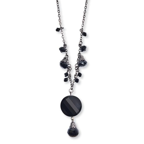 Black IP Black Crystal Drop Necklace - 16in