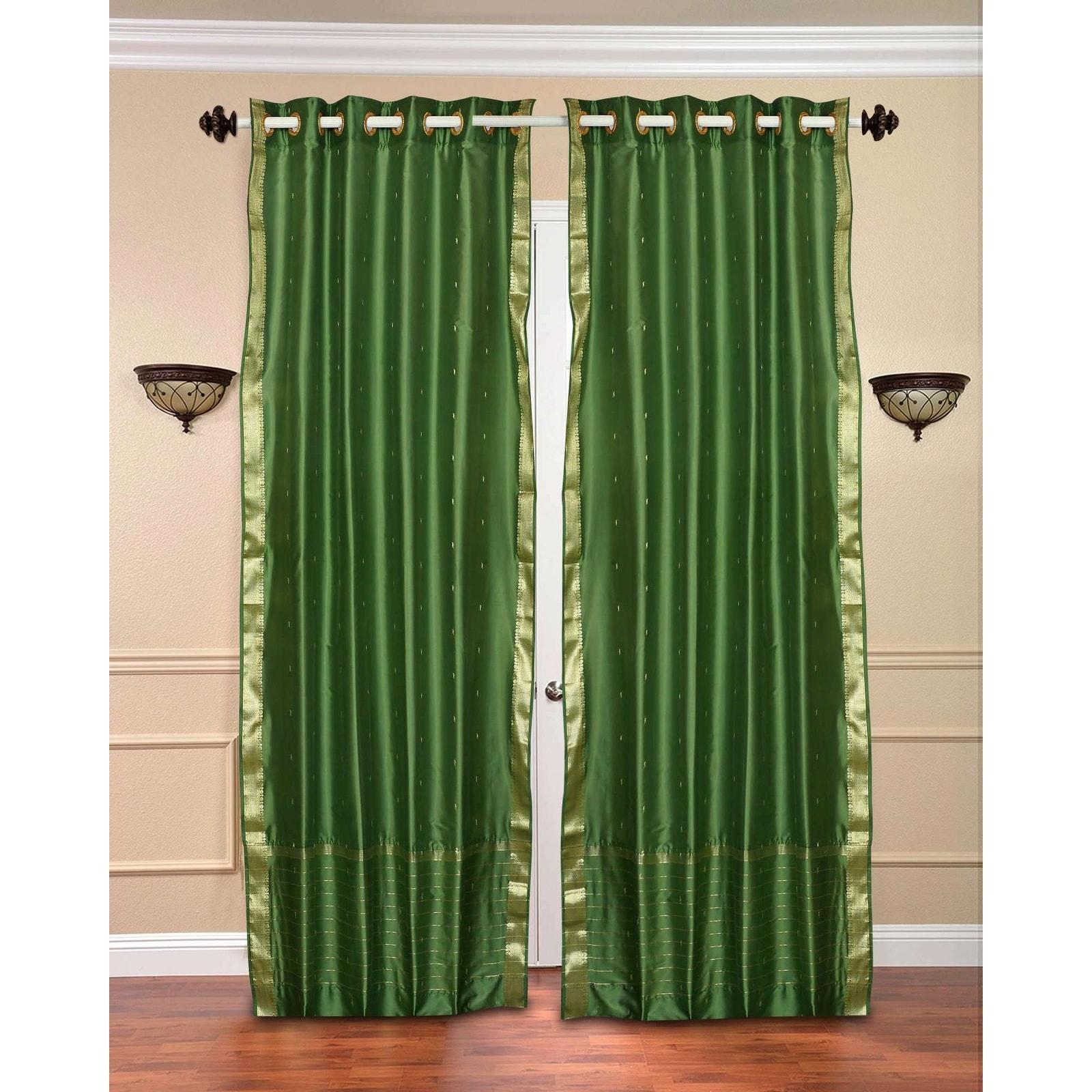 Forest Green Ring Top Sheer Sari Curtain Drape Panel Piece Overstock 18541362