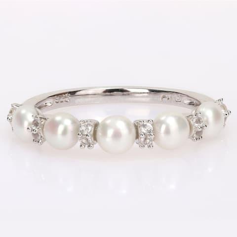 Miadora Sterling Silver Freshwater Cultured Pearl & White Topaz 5-Stone Semi-Eternity Ring (3.5-4mm)