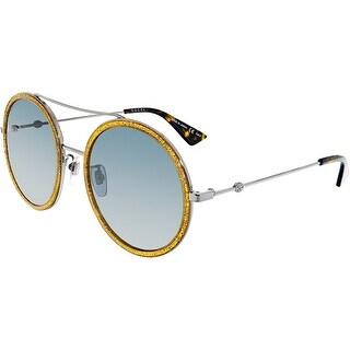 Gucci Anti-reflective GG0061S-004-56 Silver Round Sunglasses
