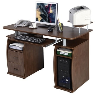 Costway Computer PC Desk Work Station Office Home Monitoru0026Printer Shelf  Furniture Walnut