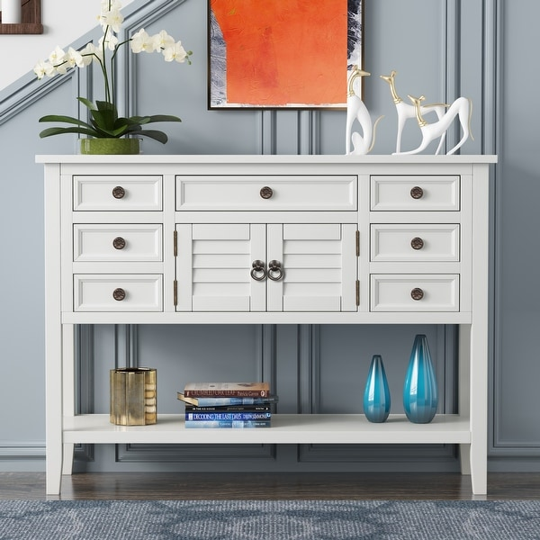 45'' Modern Console Table with 7 Drawers and 1 Cabinet. Opens flyout.