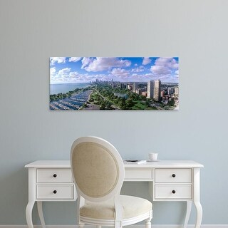 Easy Art Prints Panoramic Images's 'Chicago Harbor, City Skyline, Illinois' Premium Canvas Art