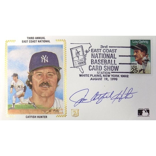 Jim Catfish Hunter New York Yankees Signed First Day Cover Bas