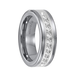 RENFRED Flat Tungsten Carbide Wedding Band with Satin Finished Silver Inlay and Large Channel Set Diamonds by Triton Rings - 8mm (Option: 6.5)
