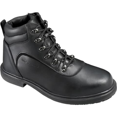 Genuine Grip Footwear Men's Slip-Resistant Steel Toe Boot Black Leather