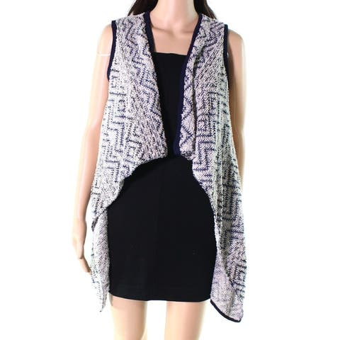 Absolutely Women's Sweater Blue Size Small S Vest High-Low Open-Front