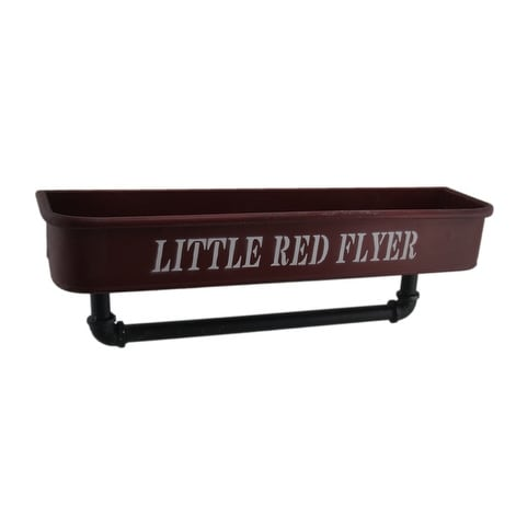 Little Red Flyer Metal Container Shelf with Industrial Pipe Towel Holder - 6.5 X 19.5 X 5 inches