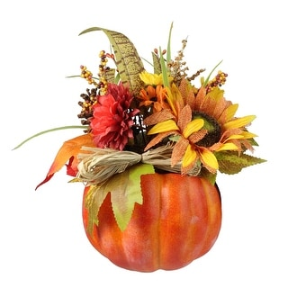 "12"" Autumn Harvest Orange and Yellow Floral Filled Pumpkin Table Decoration - N/A"