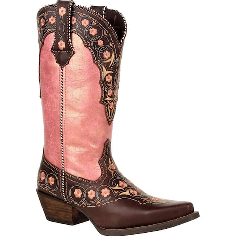 Crush by Durango® Women's Vintage Rose Gold Floral Western Boot, #DRD0384