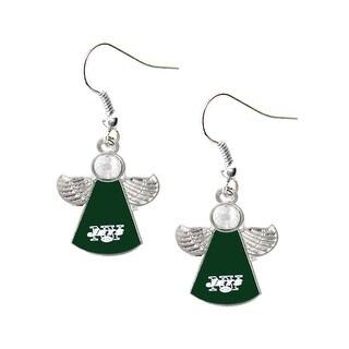 New York Jets NFL Crystal Angel Wings Dangle logo Earring Charm Gift Set