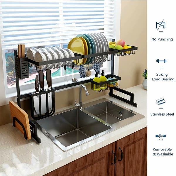25 59 33 46 Inches Stainless Steel Drain Rack Sink Rack Plate Bowl Dish Drainer Kitchen Tool Shelf Cutlery Holder Storage Overstock 30617425