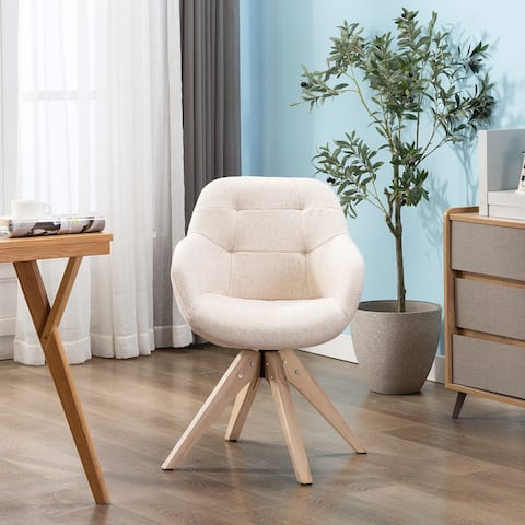 Swivel Armchair Fabric Accent Chair Dining Chair with Oak Wood Legs