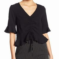 Elodie Black Womens Size Medium M Ruffle Sleeve Cinched Blouse