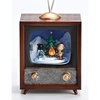 """Musical Peanuts Campfire Television Christmas Battery Operated Table Top Decoration 5.25"""" - brown"""