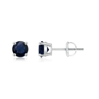 Angara Basket Set Round Genuine Blue Sapphire Stud Earrings