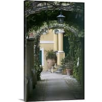Premium Thick-Wrap Canvas entitled Lanterns hanging in a garden, Capri, Naples, Campania, Italy - Multi-color