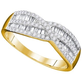 10k Yellow Gold Womens Natural Round Baguette Diamond Cocktail Fashion Band Ring 2/3 Cttw - White