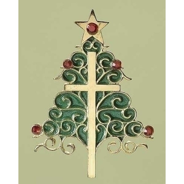 """3.5"""" Holiday Traditions Inspirational Christmas Tree and Cross Ornament - green"""