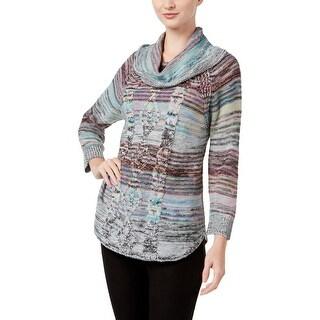 John Paul Richard Womens Shawl-Collar Sweater Cable Knit Marled