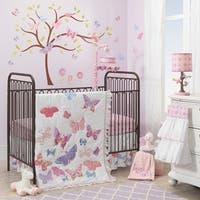Lambs & Ivy Butterfly Garden White/Pink/Purple Nursery 4-Piece Baby Crib Bedding Set