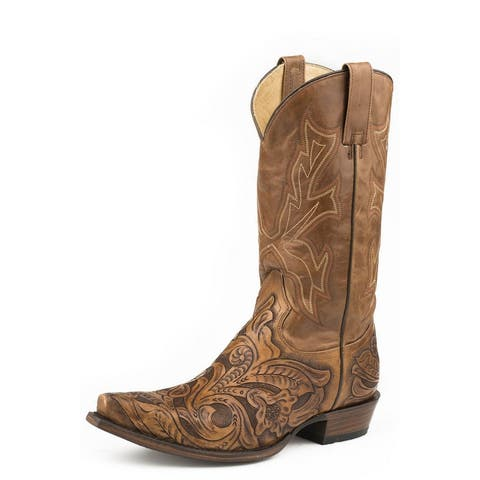 "Stetson Western Boots Mens Wicks 13"" Snip Toe Tan"