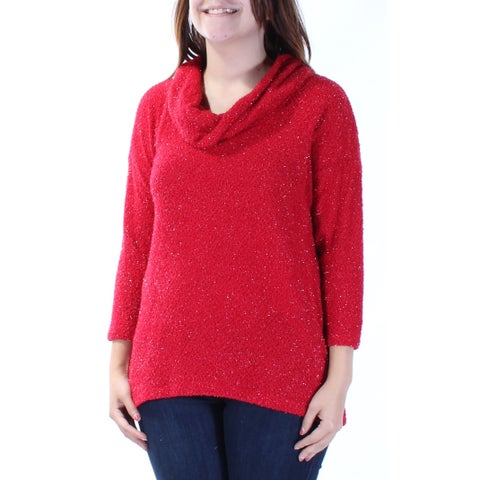 STYLE & COMPANY Womens New 3351 Red Textured 3/4 Sleeve Hi-Lo Sweater S B+B