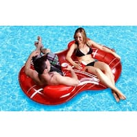 """74"""" Red and White Striped Duo Circular Inflatable Swimming Pool Lounger"""