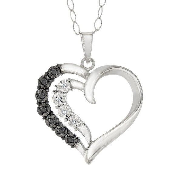 Heart Pendant with Black and White Diamonds in Sterling Silver