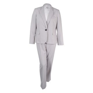 Le Suit Women's One-Button Pinstriped Pantsuit - 18