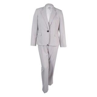 Le Suit Women's One-Button Pinstriped Pantsuit - Charcoal/White