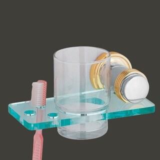 Glass Toothbrush Holder Victorian Spectrum Brass Bracket