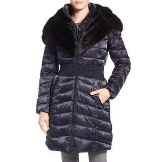 Laundry by Shelli Segal Womens Puffer Coat Faux Fur Winter