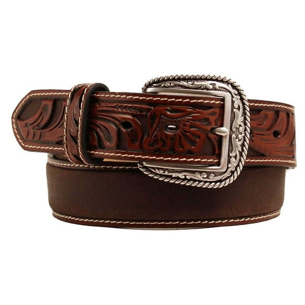 Ariat Western Belt Mens Tooled Floral Embossed Leather Tan