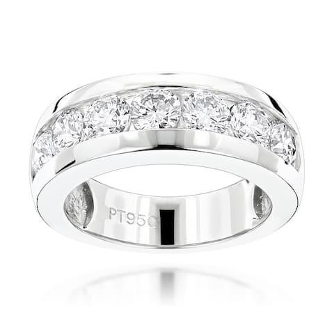 Mens Wedding Band 7 Stone Round Diamond Ring 1.5ctw in PLatinum by Luxurman