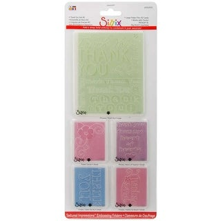 Sizzix Textured Impressions A2 Embossing Folders 5/Pkg-Thank You #2 - Red
