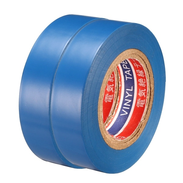 "PVC Electrical Insulating Tape Single Sided 21/32"" Width 49ft 6mil Blue 2pcs - 6 mil Thick, Blue"