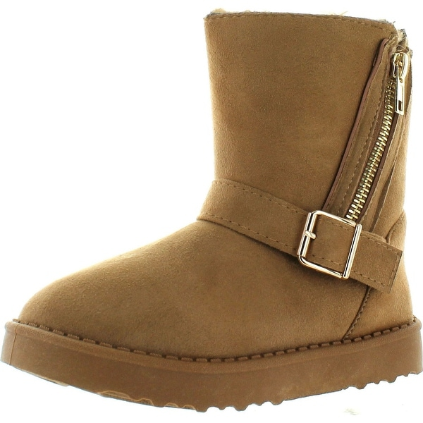 Via Pinky Coco-23F Kid's Big Girls Fashion Ankle Booties Comfort Winter Shoes - camel