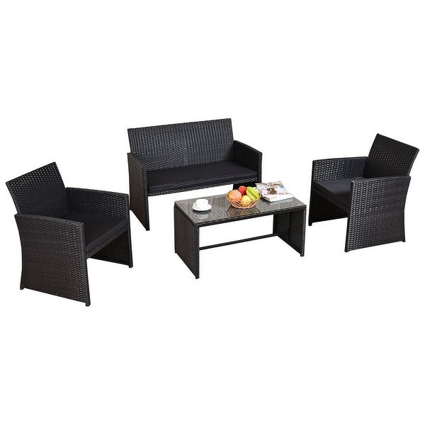 Black Wicker Coffee Table: Costway 4 PCS Outdoor Rattan Wicker Furniure Set Sofa
