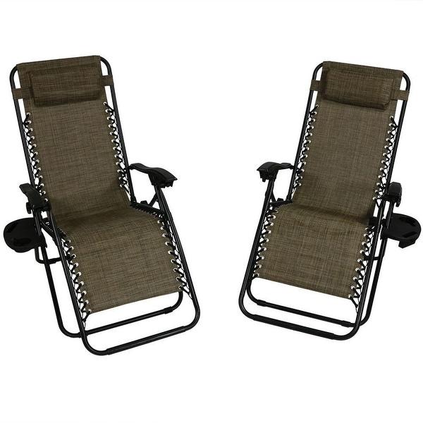 Sunnydaze Dark Brown Oversized Zero Gravity Lounge Chair, Set of 2