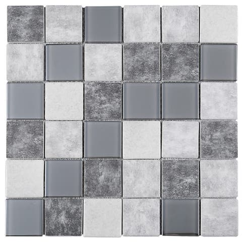 "TileGen. Recycle 2"" x 2"" Glass Mosaic Tile in Grey/Beige Wall Tile (11 sheets/10.56sqft.)"