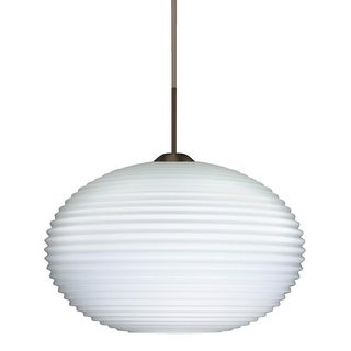 Besa Lighting 1JT-491307-LED Pape 1 Light LED Cord-Hung Pendant with Opal Ribbed Glass Shade
