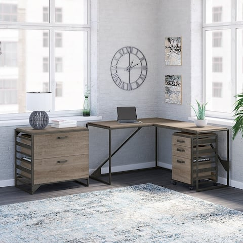 Carbon Loft Plimpton Desk with 37-inch Return and File Cabinets