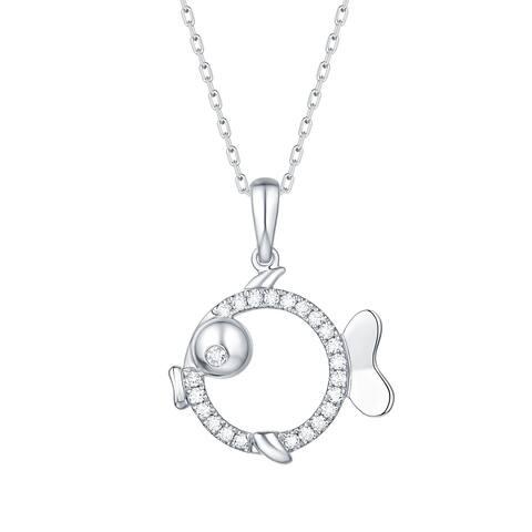 Smiling Rocks 0.16Ct G-H/VS1 Lab Grown Diamond Fish Charm Necklace